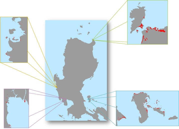 Figure 2. Mangrove areas in Luzon, with areas of concentration zoomed in