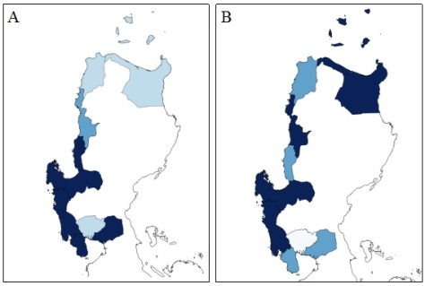 Provinces with severe concerns on: (A) conversion of mangrove into aquaculture ponds and residential areas; , and (B) areas exposed to natural hazards , (i.e.g. erosion, land subsidence and sea level rise). Thicker Darker color shades indicates more severe problems.